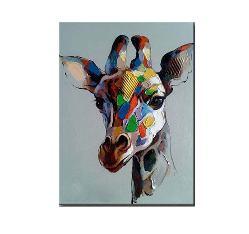 Toile Peinture Moderne Girafe Colorée; Toile Peinture Moderne Girafe  Colorée ...