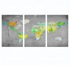 Tableau Triptyque Déco World Map