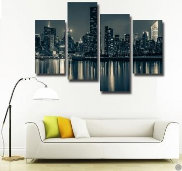Tableau moderne de Manhattan by Night en quatre panneaux
