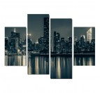 Manhattan by Night design wall art in black and white