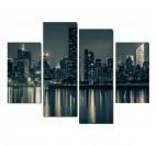 Tableau décoratif de Manhattan de nuit en noir et blanc