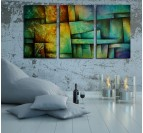 Abstract Urban Art Tableau Triptyque