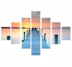 Seychelles Pier on a landscape wall decoration printed on canvas with light colors