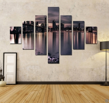 tableau ville new york by night. Black Bedroom Furniture Sets. Home Design Ideas