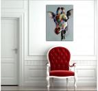 Toile Peinture Moderne Girafe Colorée