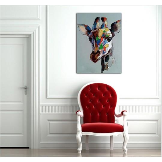 Toile Peinture Moderne Girafe Colorée - ArtWall
