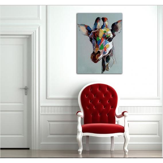Modern Oil Painting Coloured Giraffe