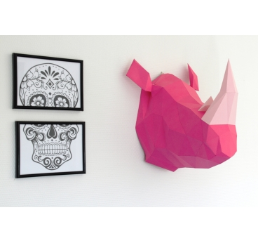 Trophée Mural Rhinocéros Papier