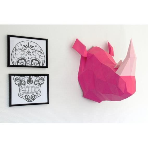 Trophée Mural Papier Rhinocéros