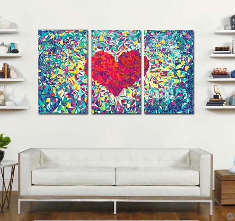 Tableau abstrait diamond art for Tableau pour chambre romantique