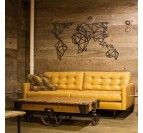 Contemporary interior with or metal world map