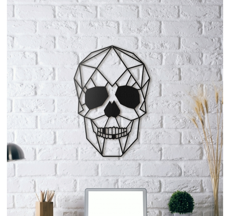 D coration murale m tal skull artwall and co for Decoration murale carte du monde