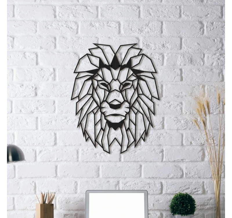 design metal decoration lion artwall and co. Black Bedroom Furniture Sets. Home Design Ideas