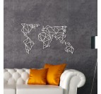 White world map metal decoration