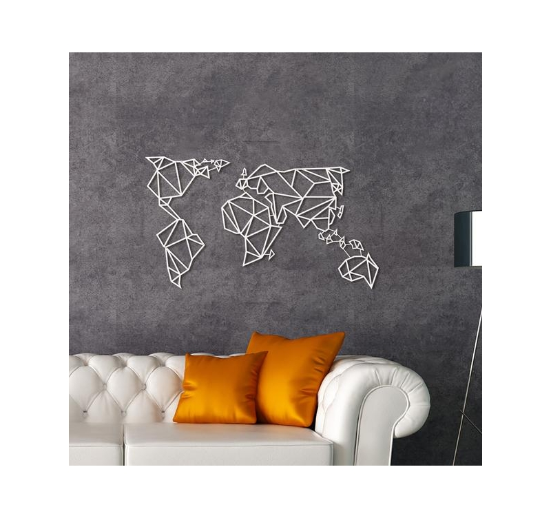 D coration murale m tal carte du monde blanche artwall for Decoration murale blanche