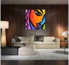 Pop Art Woman Tableau Abstrait