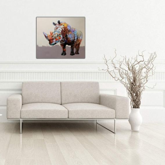Powerful Rhinoceros Modern Canvas
