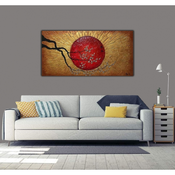 Golden Sun Abstract Paint Canvas