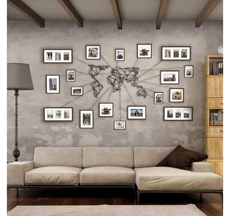 Metal wall decoration world map artwall and co for Deco murale metal