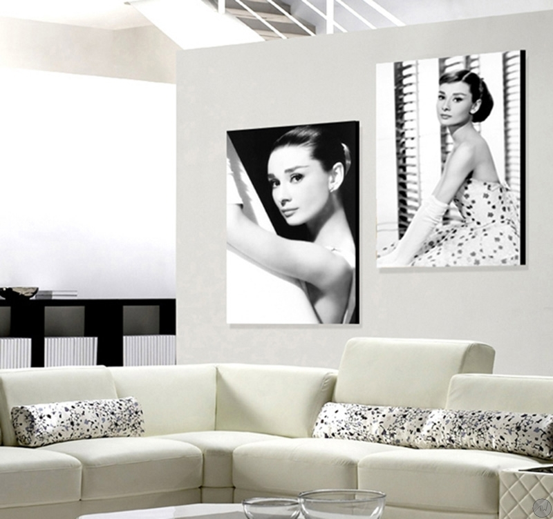 tableau noir et blanc d 39 audrey hepburn. Black Bedroom Furniture Sets. Home Design Ideas