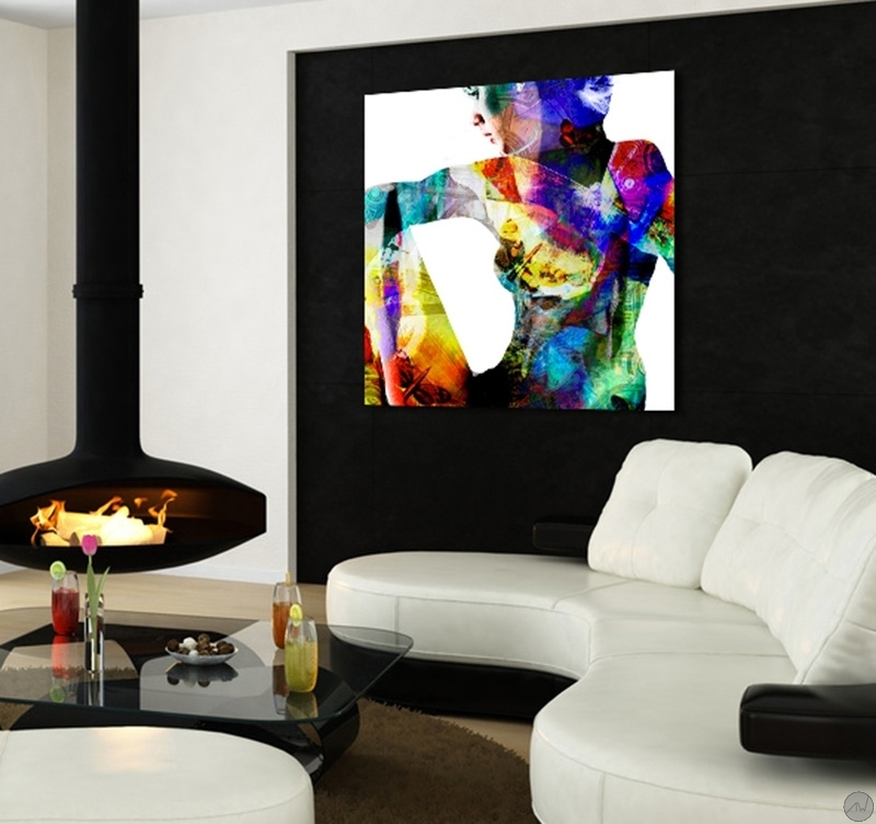 Tableau abstrait woman in love - Tableau colore design ...