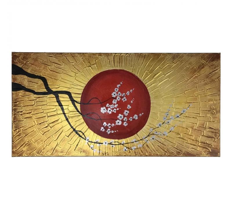 Tableau Peinture Abstraite Soleil Dor Artwall And Co
