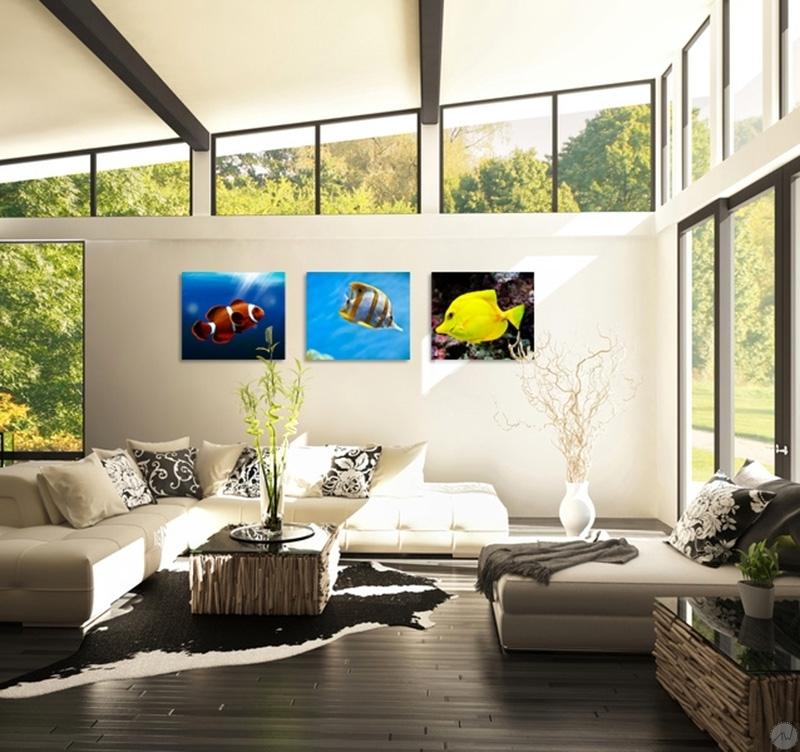 tableau triptyque tropical fish. Black Bedroom Furniture Sets. Home Design Ideas