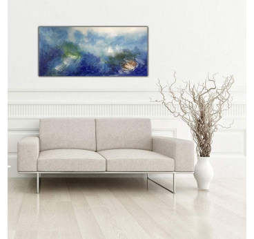 Tableau Abstrait Océan bleu