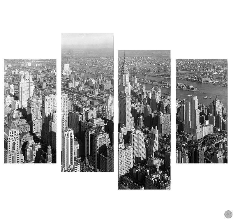 Tableau ville new york building - Tableau noir et blanc new york ...