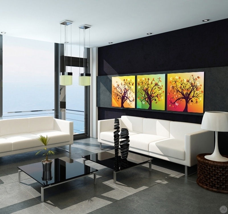 tableau abstrait happiness tree. Black Bedroom Furniture Sets. Home Design Ideas