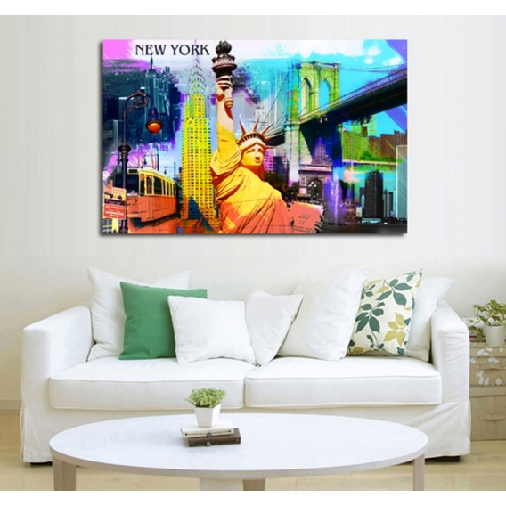 New york pop art modern art print artwall and co for Poster contemporain