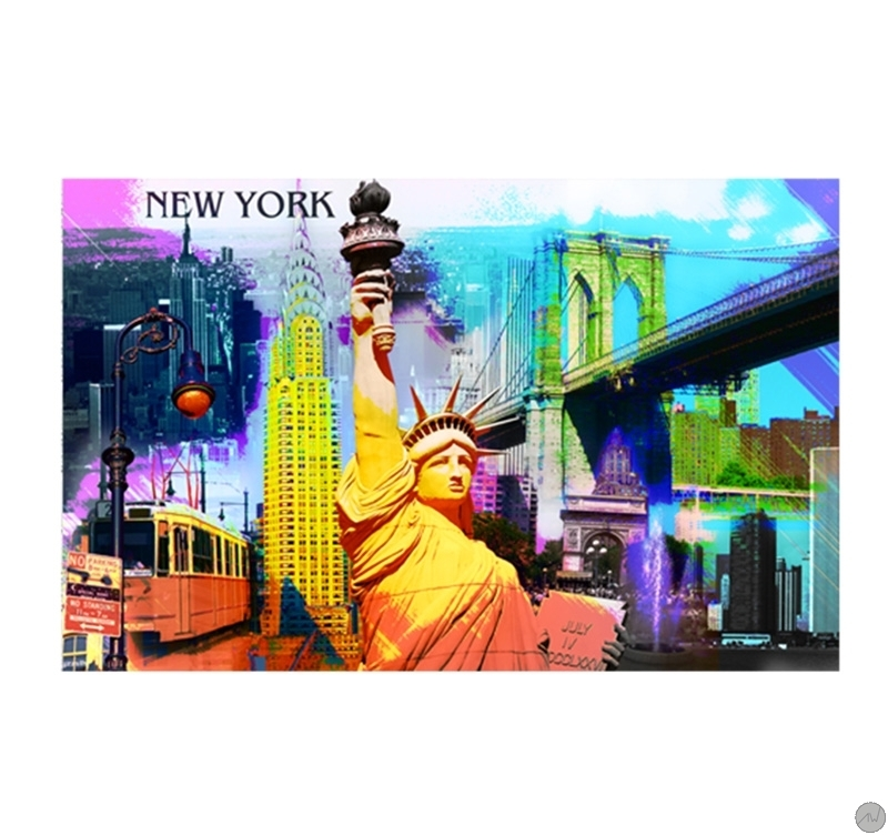 Tableau contemporain new york pop art - Tableau triptyque new york ...
