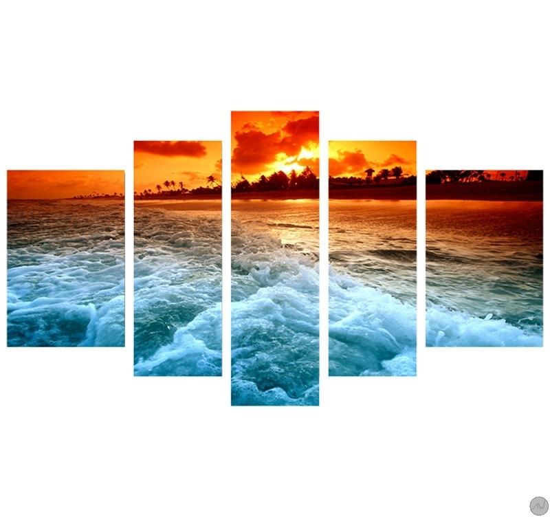 tableau moderne sunset beach. Black Bedroom Furniture Sets. Home Design Ideas