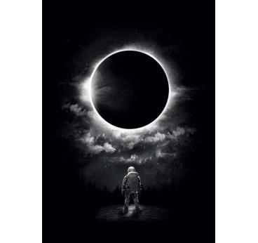 Black and white moon sun