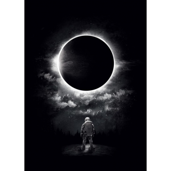Eclipse Black and White Poster