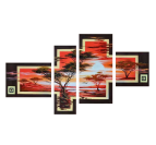 Red oil painting on canvas with ethnic touch for your interior