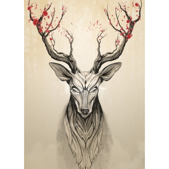 Deer Flowers Metal Wall Poster