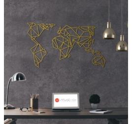Décoration Murale Métal Gold Carte du Monde