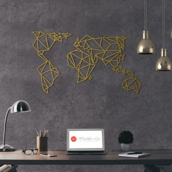 World Map Gold Metal Wall Decoration