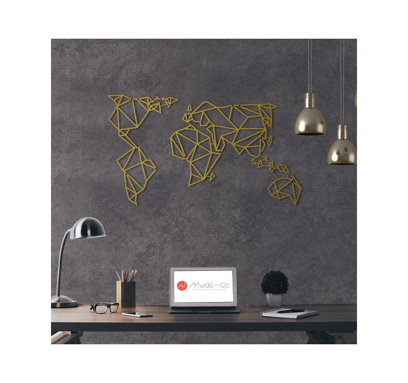 d coration murale m tal gold carte du monde artwall and co. Black Bedroom Furniture Sets. Home Design Ideas