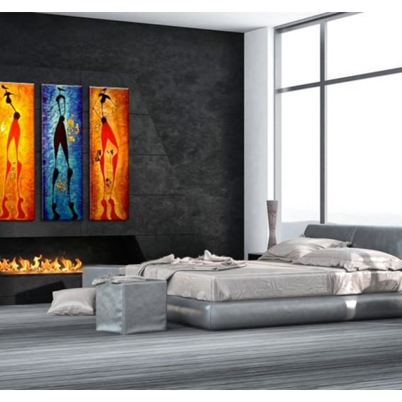 Abstract People Triptych Painting