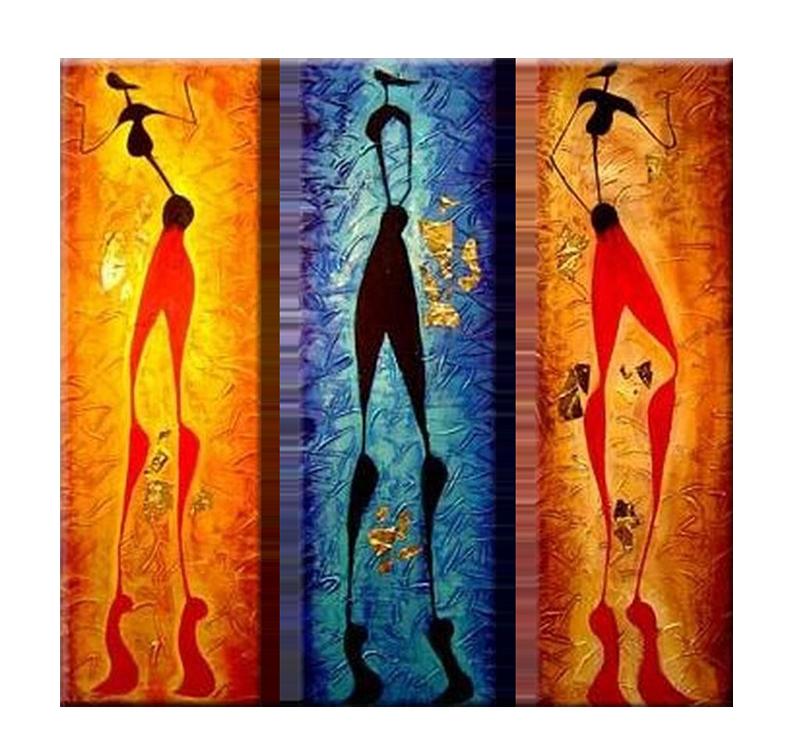 Tableau triptyque ethnique abstract people - Peinture sur toile triptyque ...