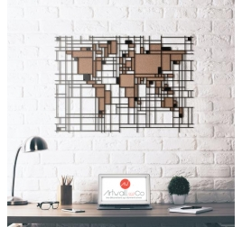 Décoration Murale Métal Carte du Monde Mondrian