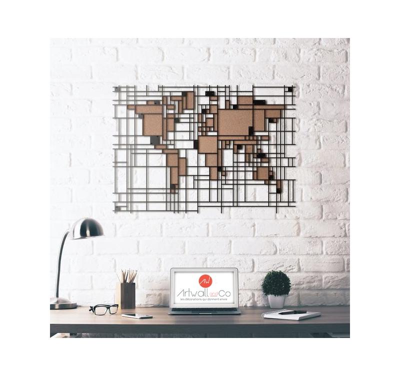 Décoration murale métal carte du monde mondrian · mondrian world