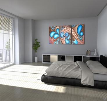 Tableau peinture abstrait dans une décoration murale de chambre