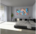 Abstract wall oil painting on canvas in a modern bedroom for a design interior