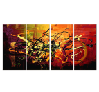 Abstract oil painting on canvas with orange and red color for your interior