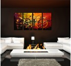 Abstract oil painting on canvas for a trendy wall decoration with an hand painted frame
