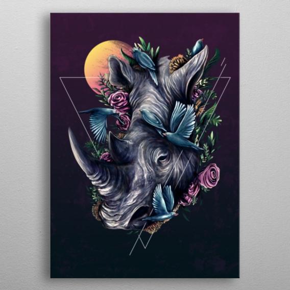Poster Metal Rhinocéros Fleurs