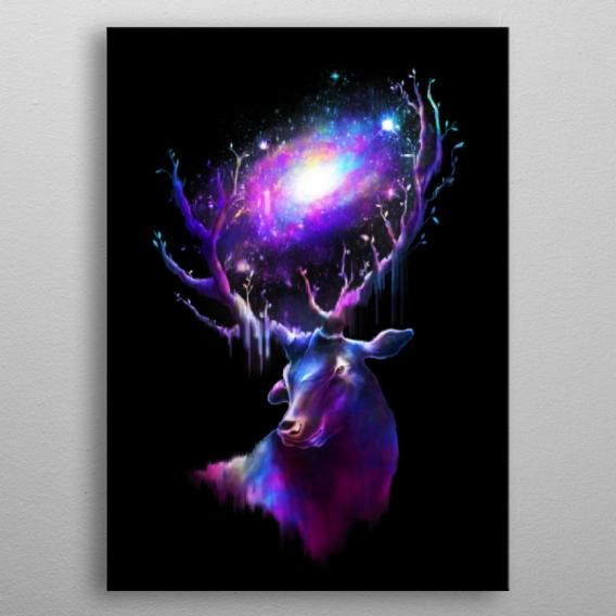 Poster Mural Métal Cerf Galactique